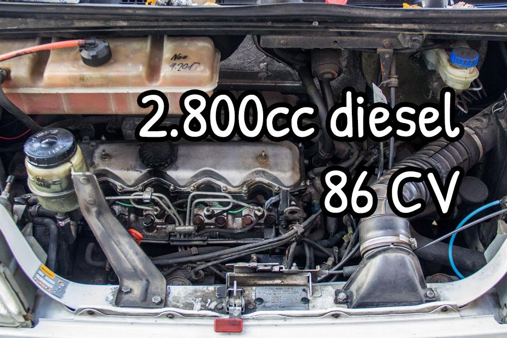 Il motore del nostro furgone è un 2.8 diesel aspirato con 86 CV