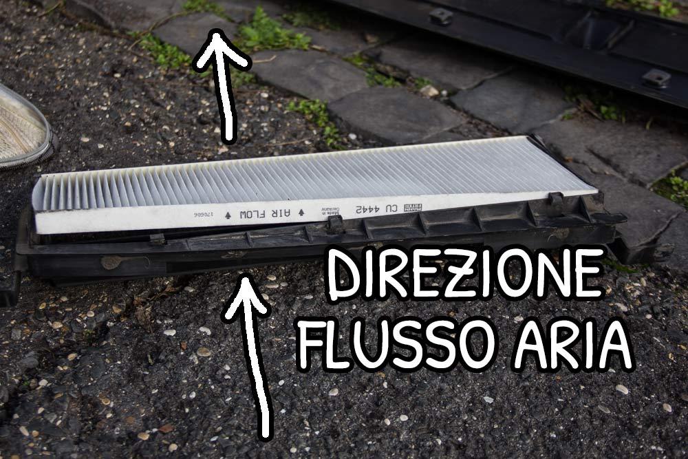 Direzione del flusso di aria nel filtro abitacolo