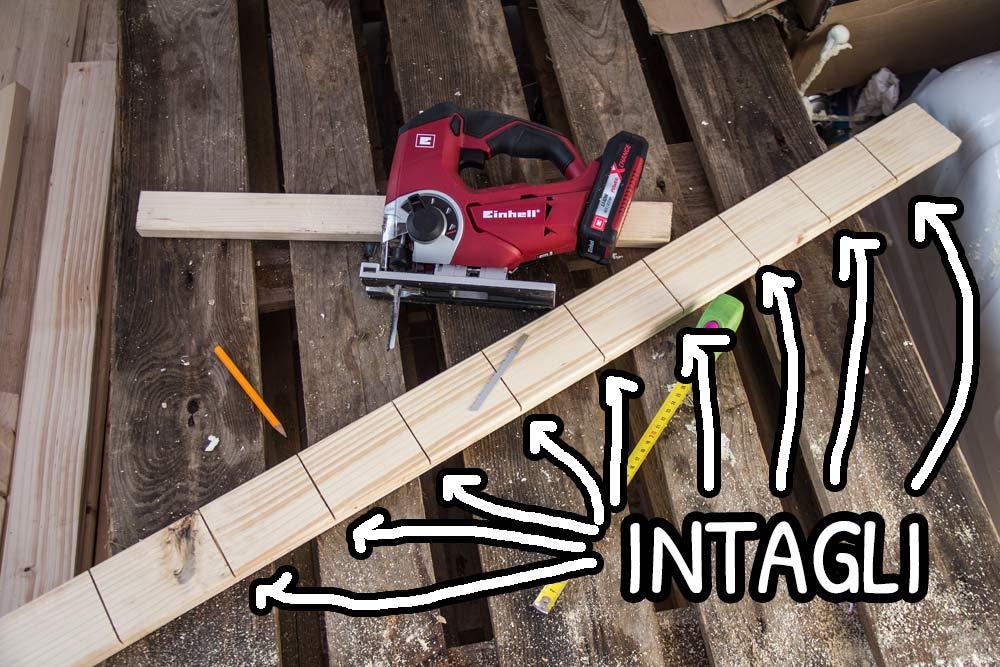 Intagli nei listelli di legno per i montanti del tetto