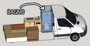 Arredamento interno con il bagno alle spalle della cabina