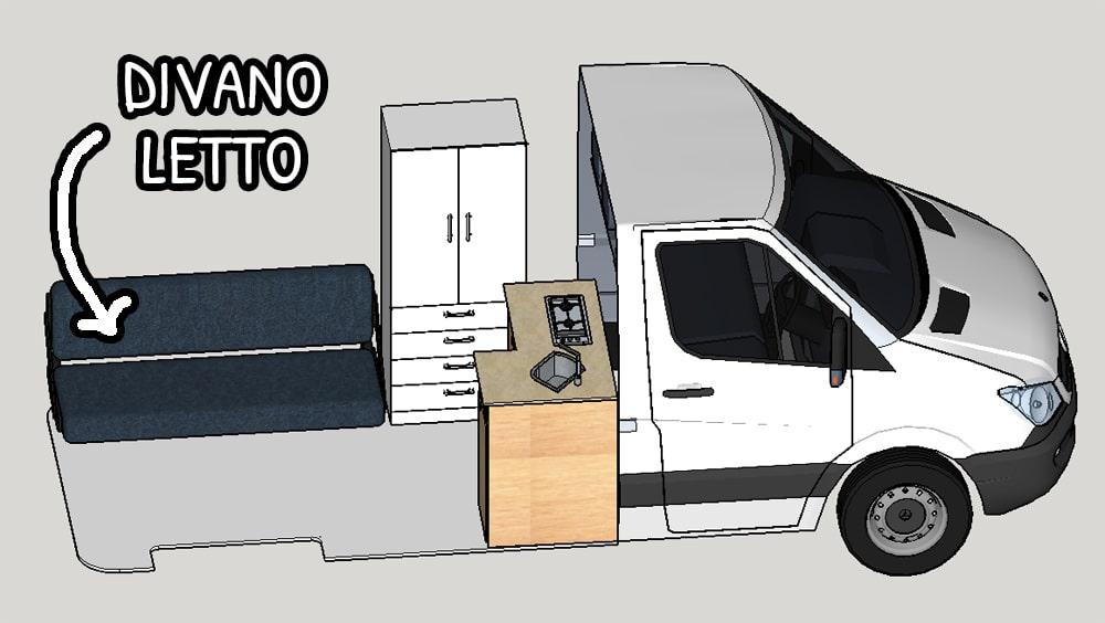 Divano letto su un lato del furgone camperizzato
