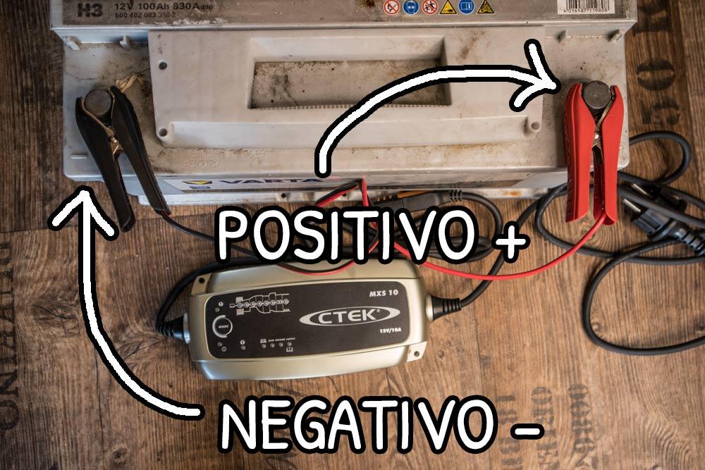Caricabatteria collegato ai poli positivo e negativo della batteria servizi